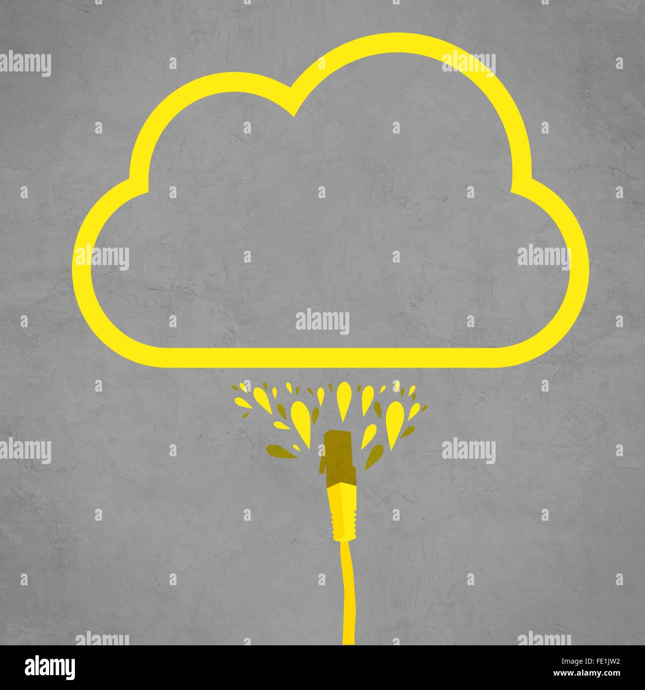 Il cavo LAN è collegato al servizio cloud, semplice linea piatta illustrazione della tecnologia di internet Immagini Stock