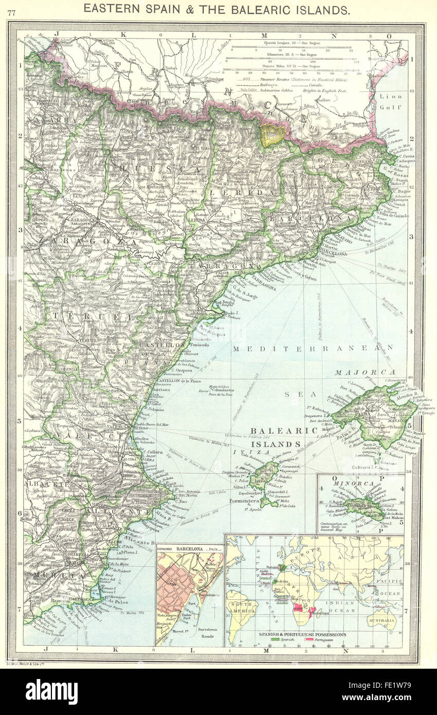 Mappa Spagna Orientale.Spagna Orientale Isole Baleari Barcellona Colonie 1907 Mappa Antichi Foto Stock Alamy