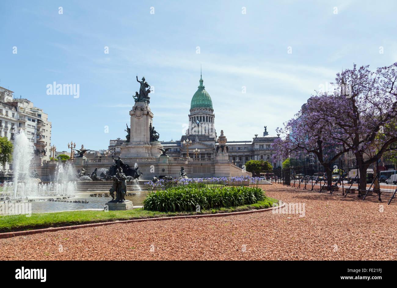 Congresso nazionale dell'Argentina, Congressional Plaza, Buenos Aires Immagini Stock