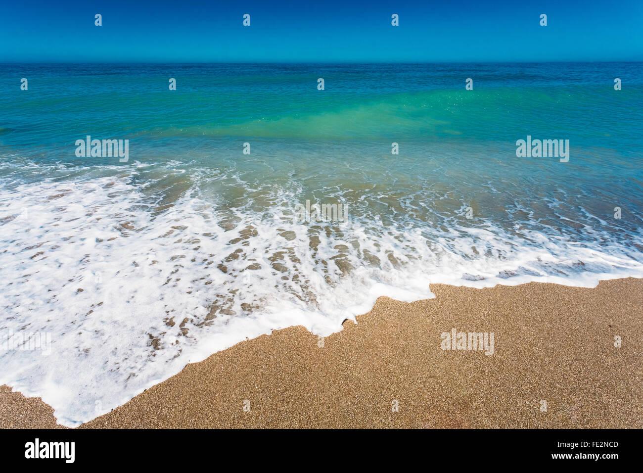 Soft Mare Oceano Onde Lavare Sulla Sabbia Dorata Sfondo Onda Di