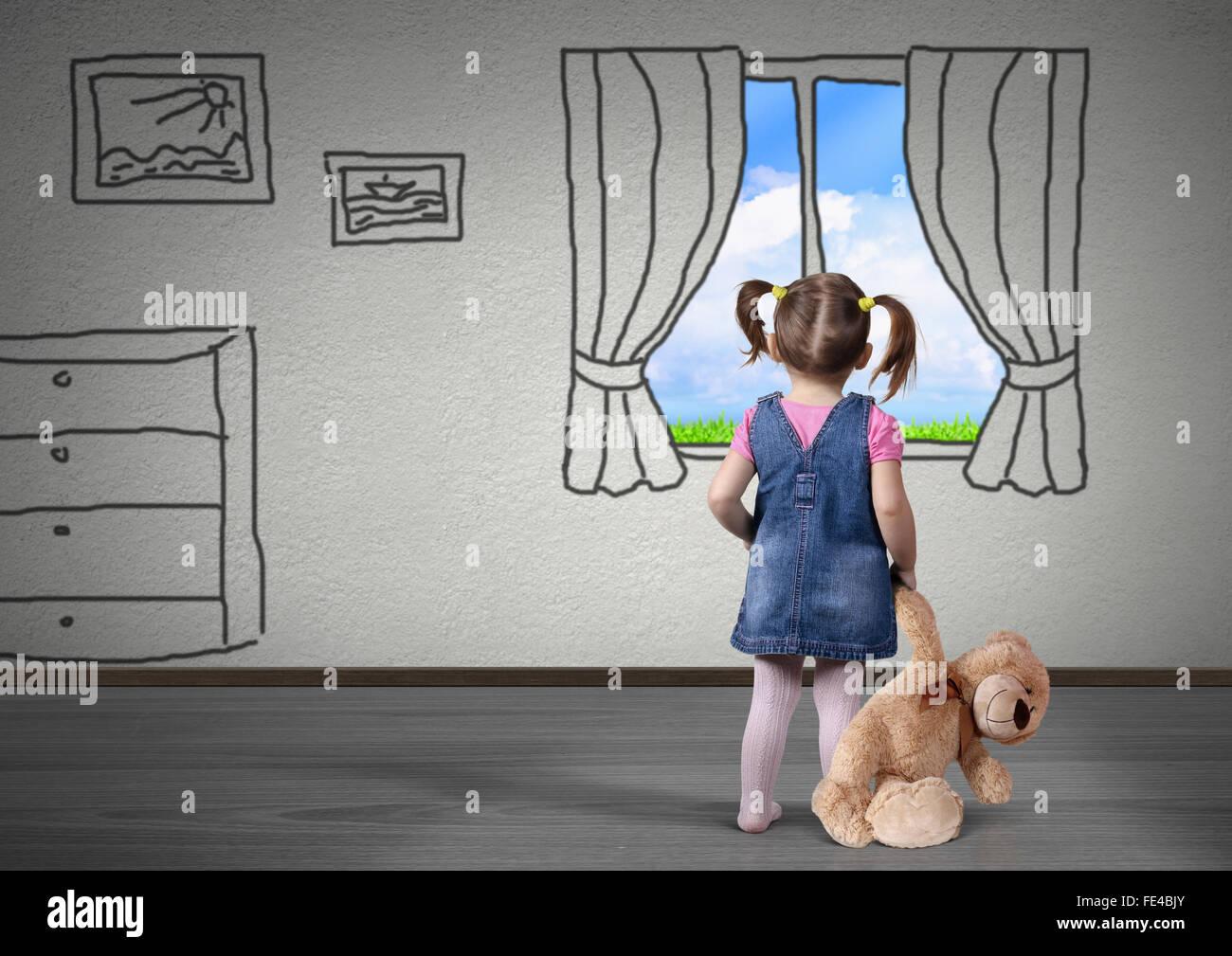 Bambino ragazza con orso giocattolo guardare nella finestra disegnata, concetto di sogno Immagini Stock