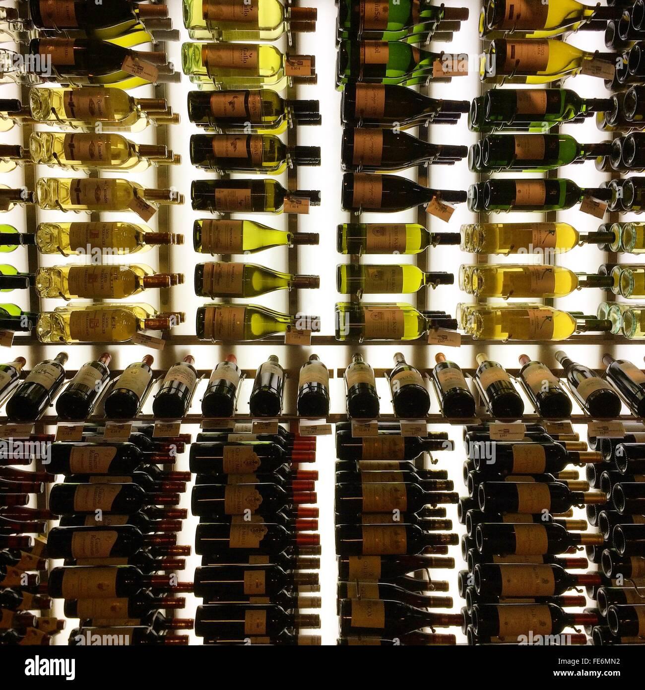 Le bottiglie di vino sugli scaffali Immagini Stock