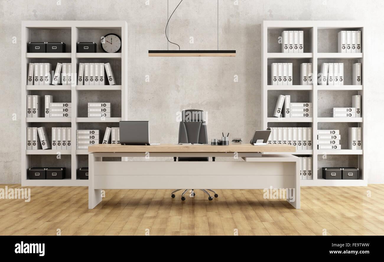 Bianco e nero per ufficio minimalista con scrivania e libreria - il ...