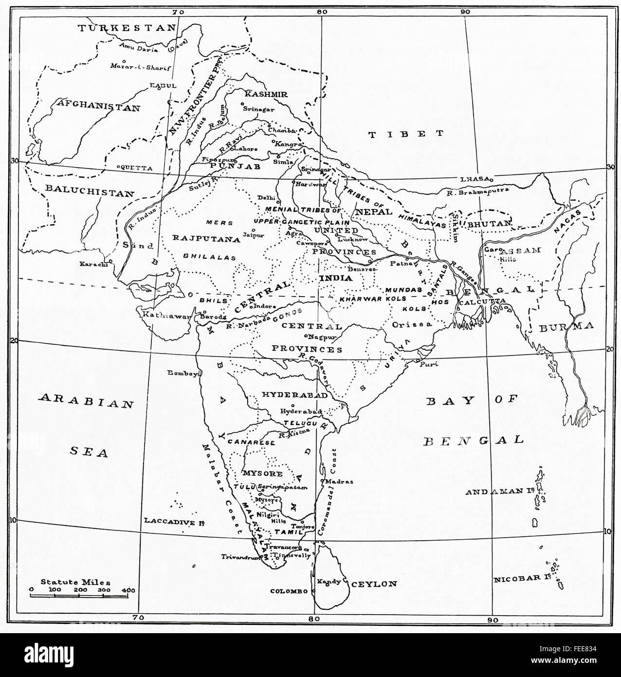 Una mappa dell'India all'inizio del XX secolo. Immagini Stock