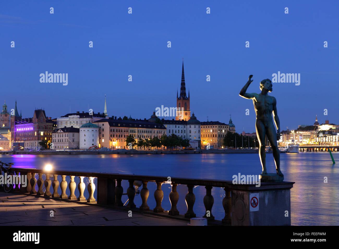 Vista di Gamla Stan (la città vecchia) di Stoccolma, Svezia Immagini Stock