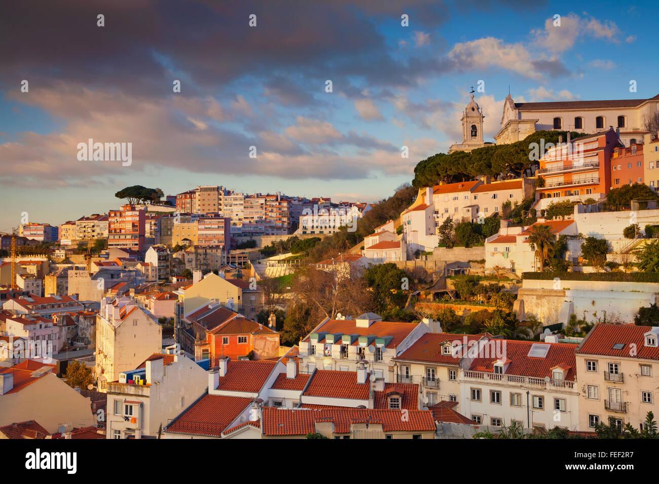 Lisbona. Immagine di Lisbona, Portogallo durante l ora d'oro. Immagini Stock