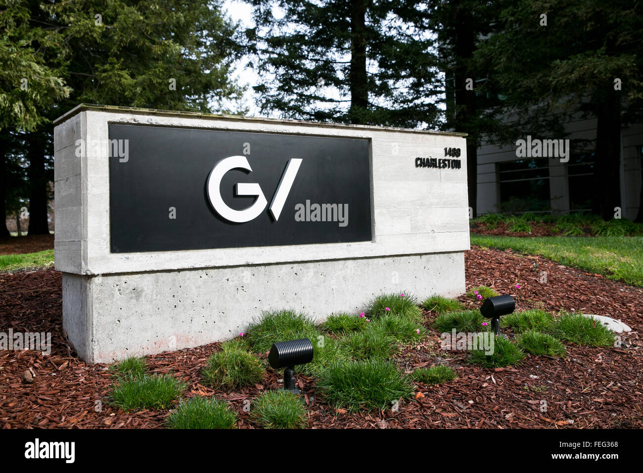 Un logo segno al di fuori della sede di GV, noto anche come iniziative di Google a Mountain View, California dal Immagini Stock