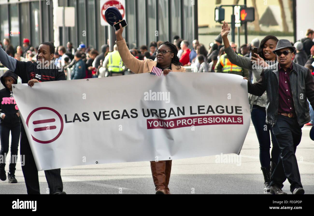 Las Vegas Lega urbana giovani professionisti al 2016 Las Vegas Martin Luther King Jr. Parade. Immagini Stock