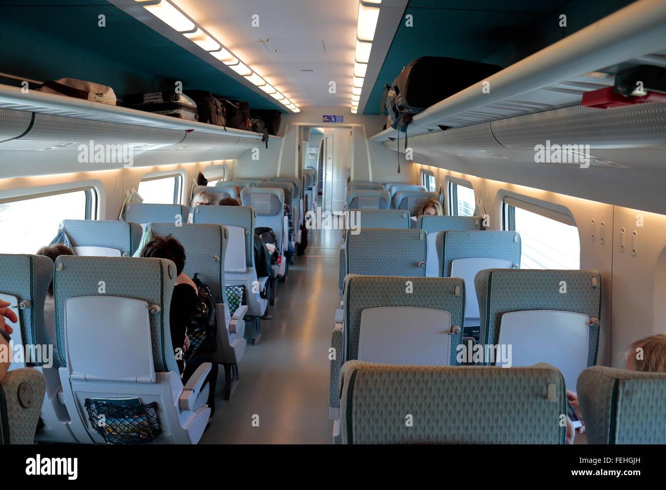 Una seconda classe di trasporto sulla Allegro treno che opera tra San Pietroburgo in Russia e di Helsinki in Finlandia. Immagini Stock