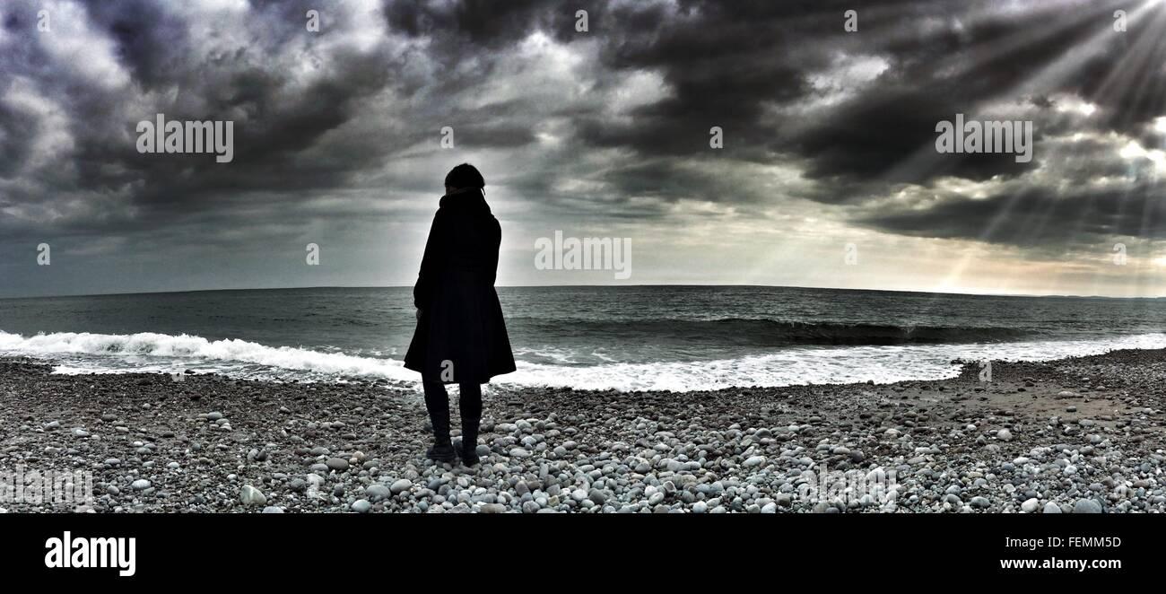 Panoramica della persona in piedi sulla spiaggia contro il cielo nuvoloso Immagini Stock