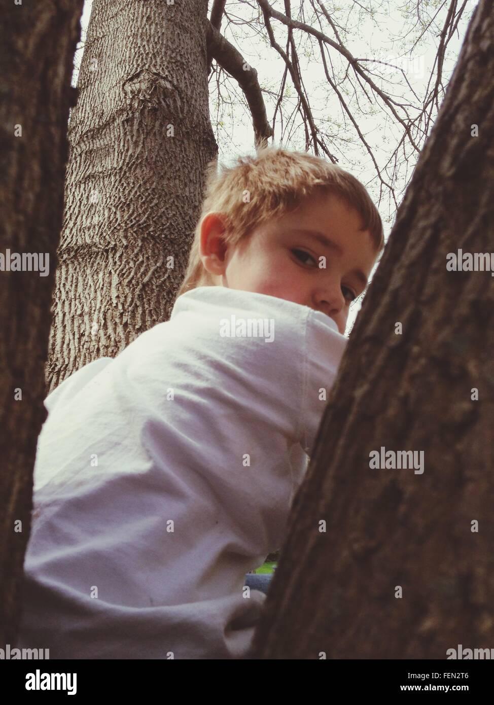 Ritratto di ragazzo seduto in posizione di parcheggio Immagini Stock