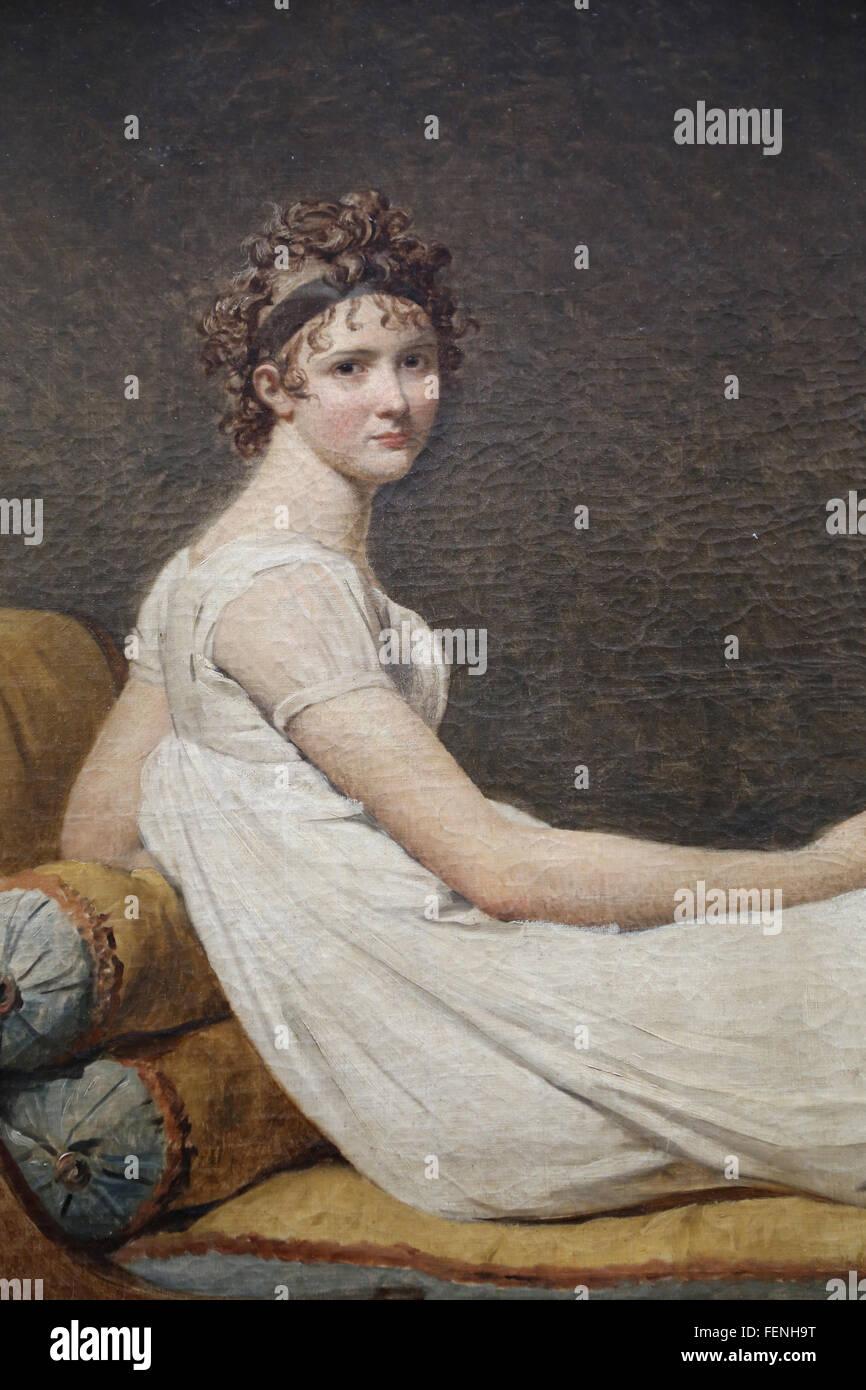 Ritratto di Madame Recamier, 1800. Da Jacques-Louis David (1748-1825). In stile neoclassico. Il museo del Louvre. Immagini Stock
