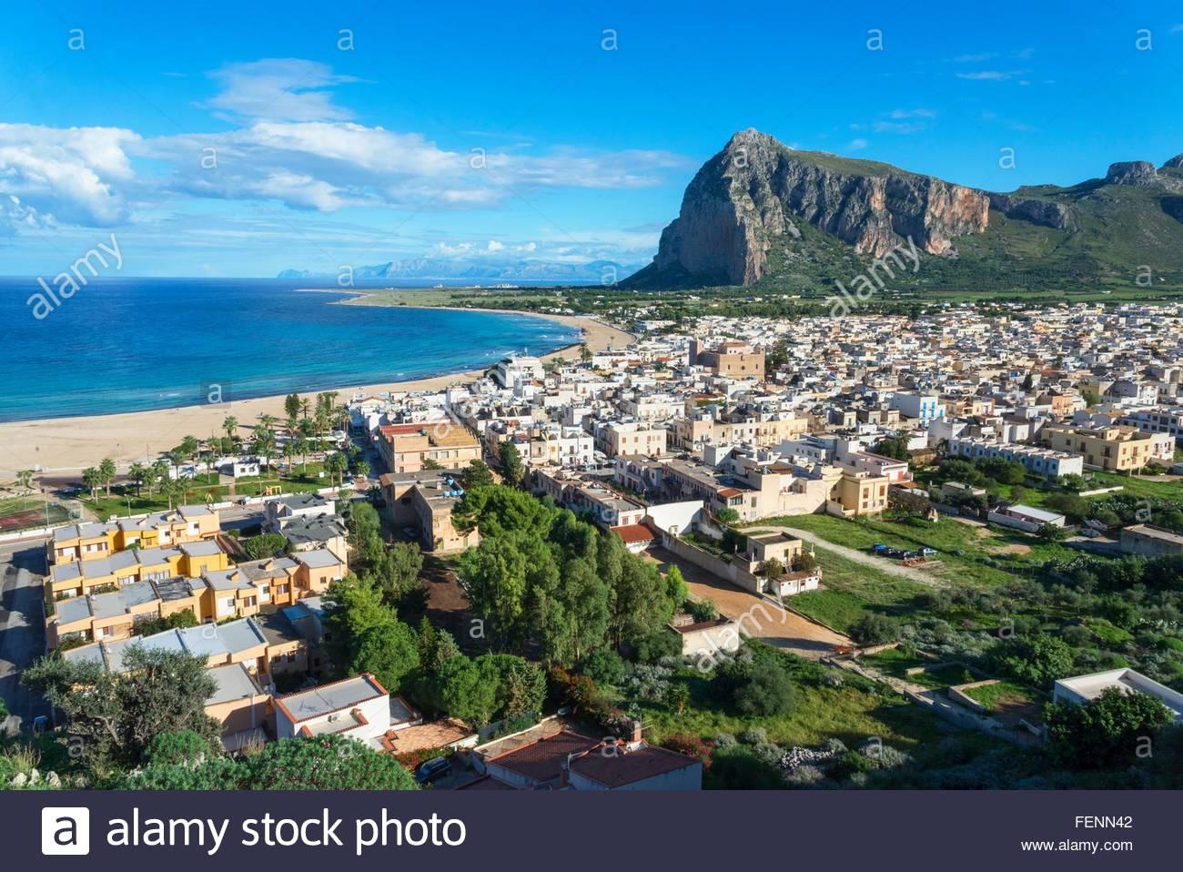 Angolo di alta vista di San Vito Lo Capo, Sicilia, Italia Immagini Stock