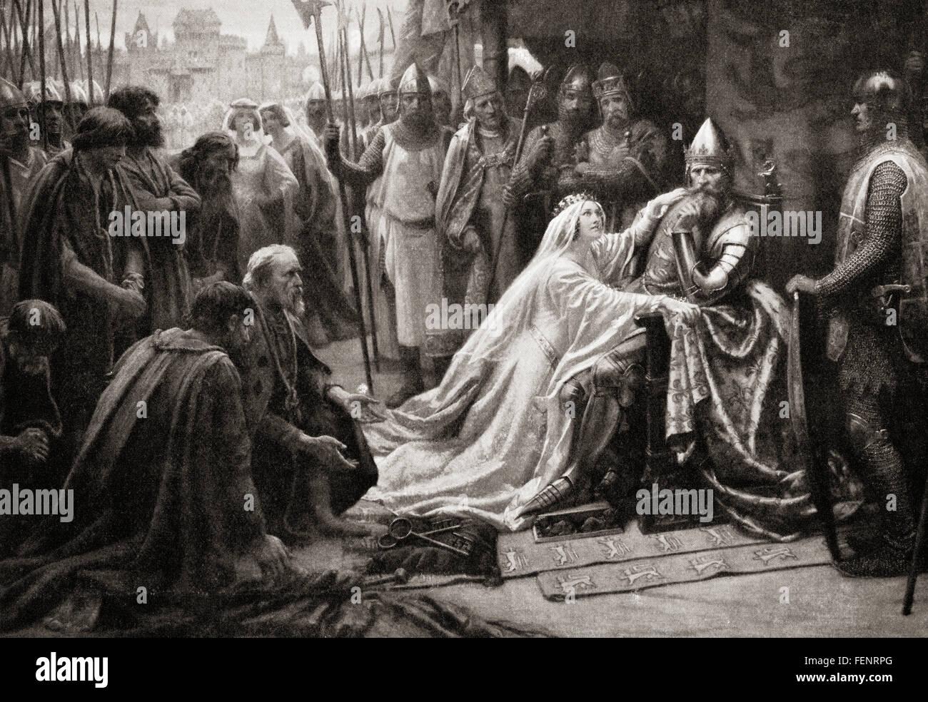 La moglie del re Edward III, regina Philippa di Hainault, intercede presso il marito a chiedere che la vita di sette Immagini Stock