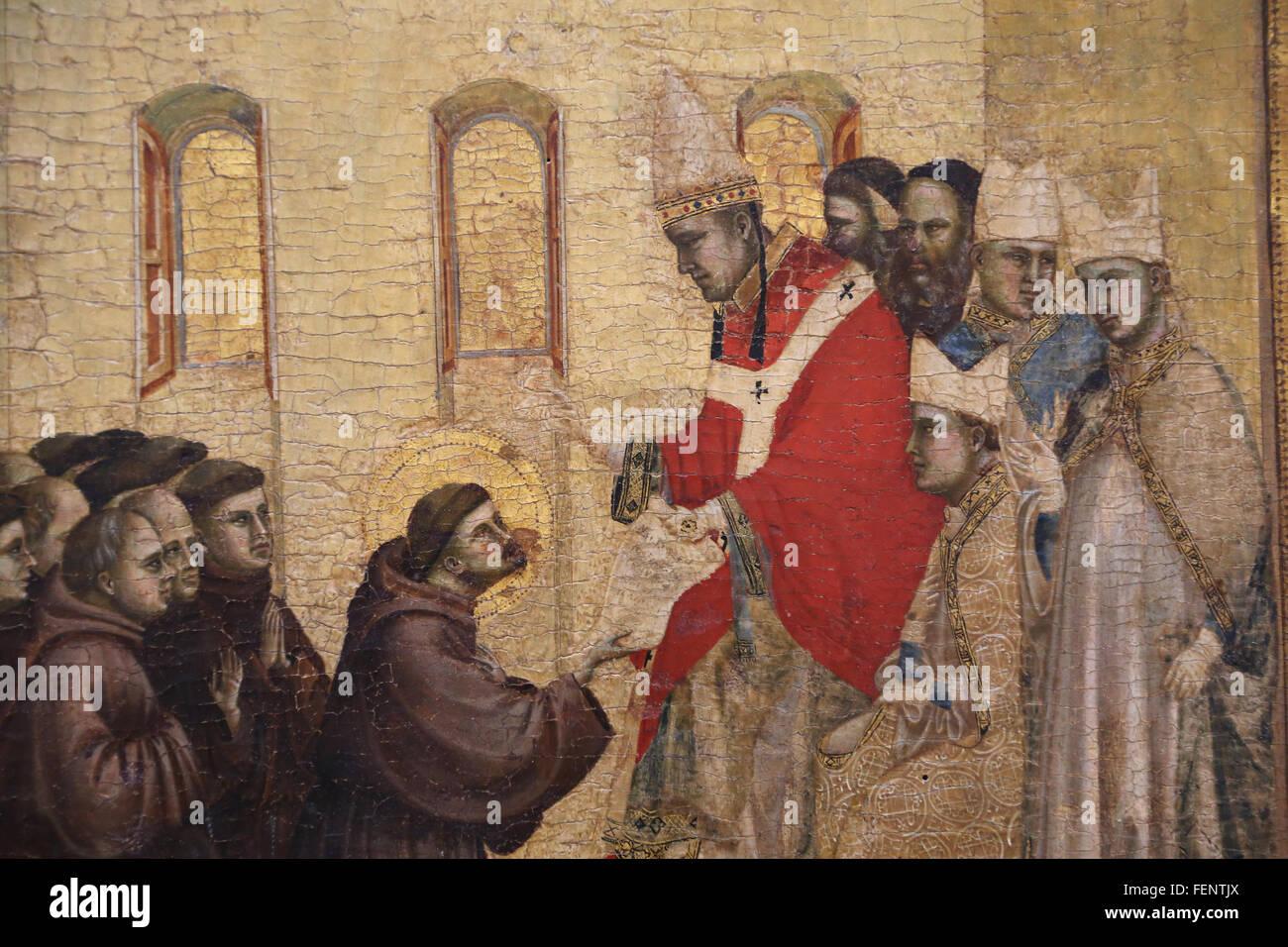 San Francesco che riceve le stimmate, da Giotto (1266-1337), 1295-1300. Dettaglio predella. Il papa Innocenzo III Immagini Stock