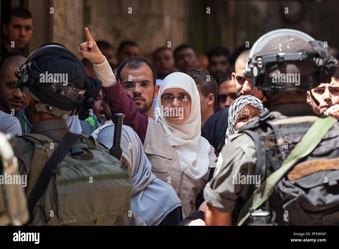 La protesta palestinese nella città vecchia di Gerusalemme, Israele. Immagini Stock