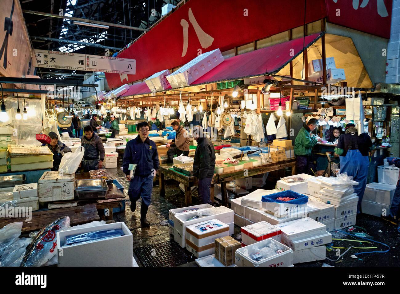 Giappone, isola di Honshu, Kanto, Tokyo, del mercato Tsukiji Immagini Stock