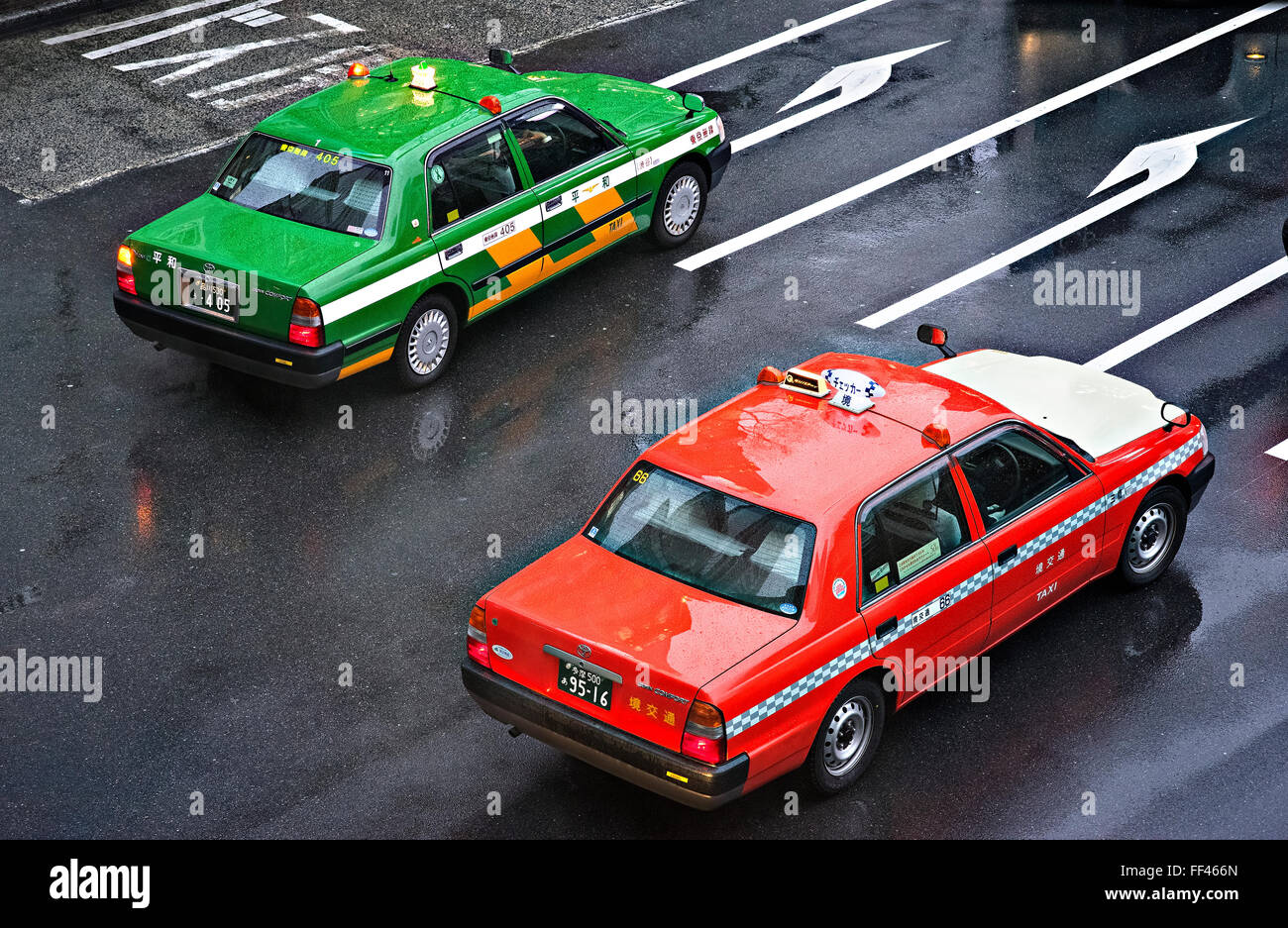 Giappone, isola di Honshu, Kanto, Tokyo, taxi. Immagini Stock