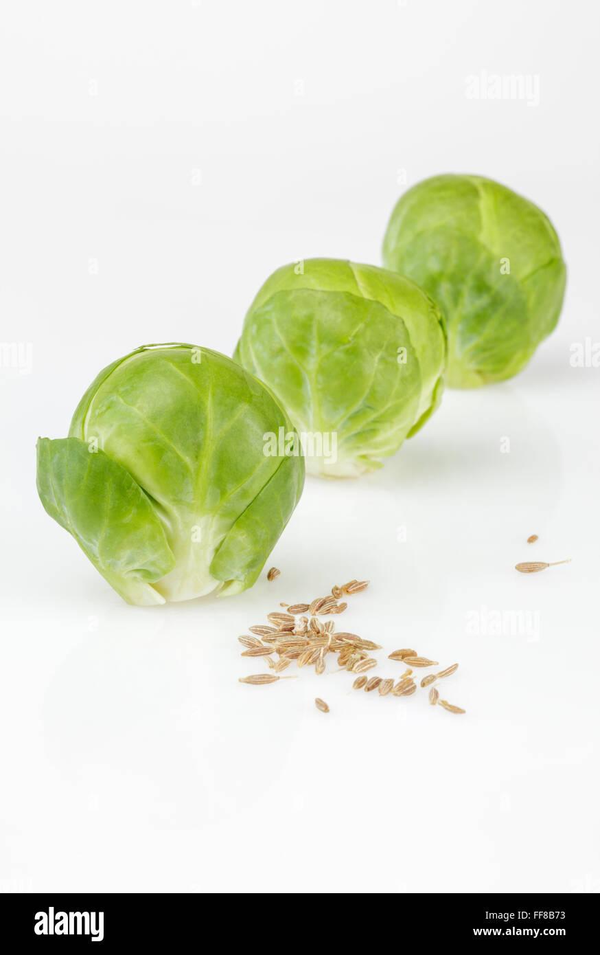 Cavoletti di Bruxelles con semi di cumino Immagini Stock