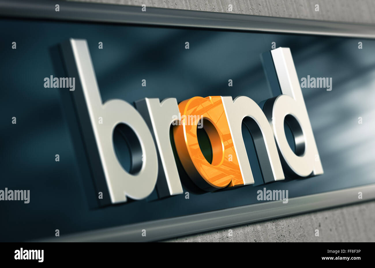 Concetto di branding. Azienda Nome del marchio su una facciata di edificio con effetto di sfocatura Immagini Stock