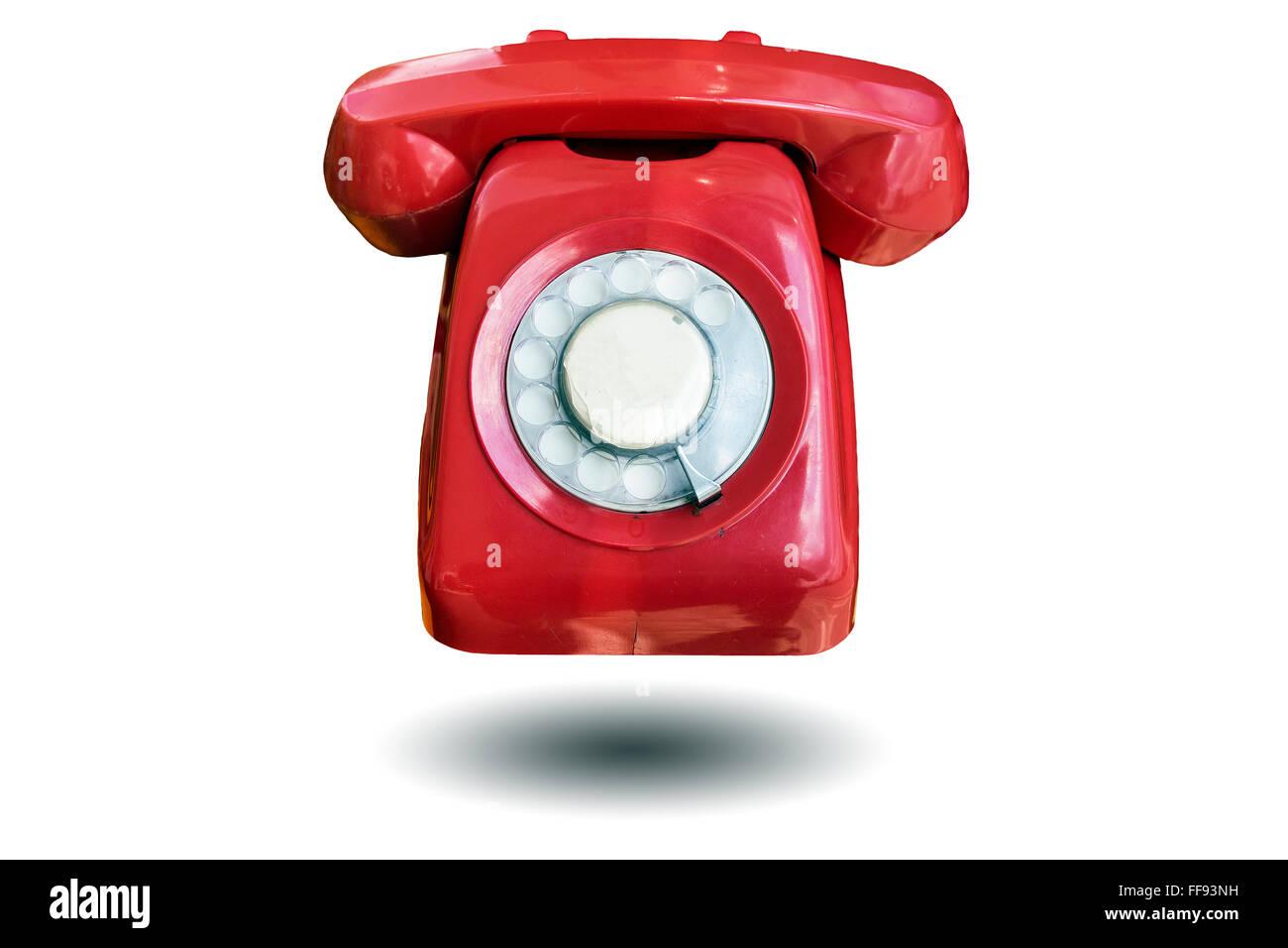 Bella Vintage Colore Rosso Antico Telefono Isolato Su Sfondo Bianco
