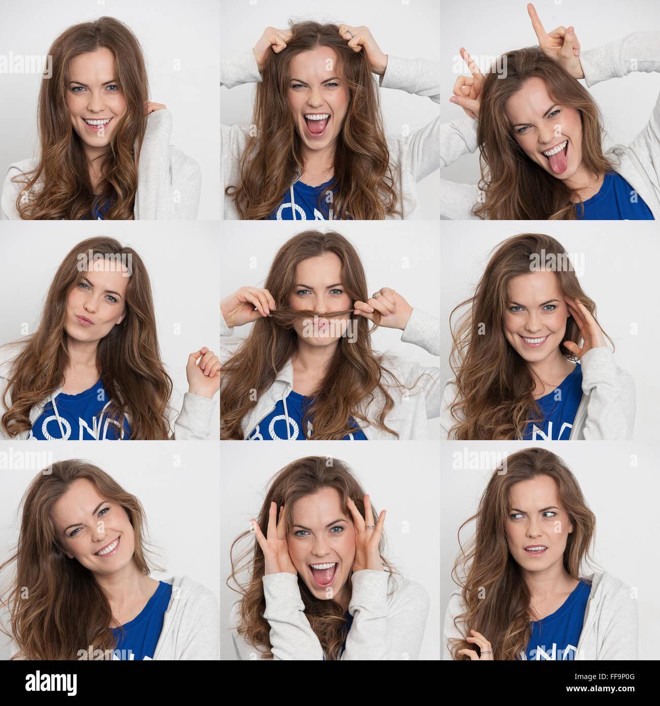 Foto di una donna che mostra diverse emozioni ed espressioni Immagini Stock