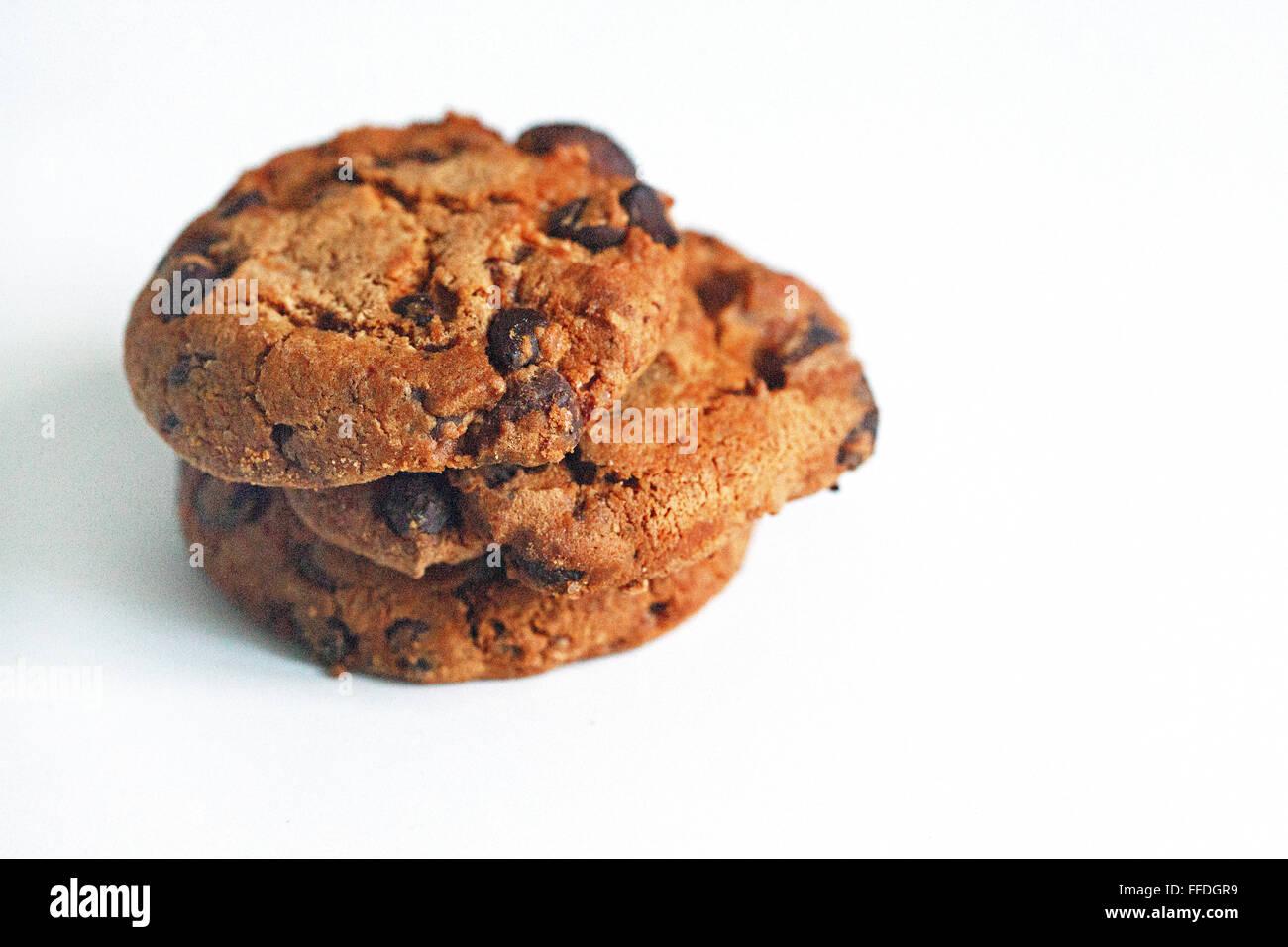 American cookies su sfondo bianco Foto Stock