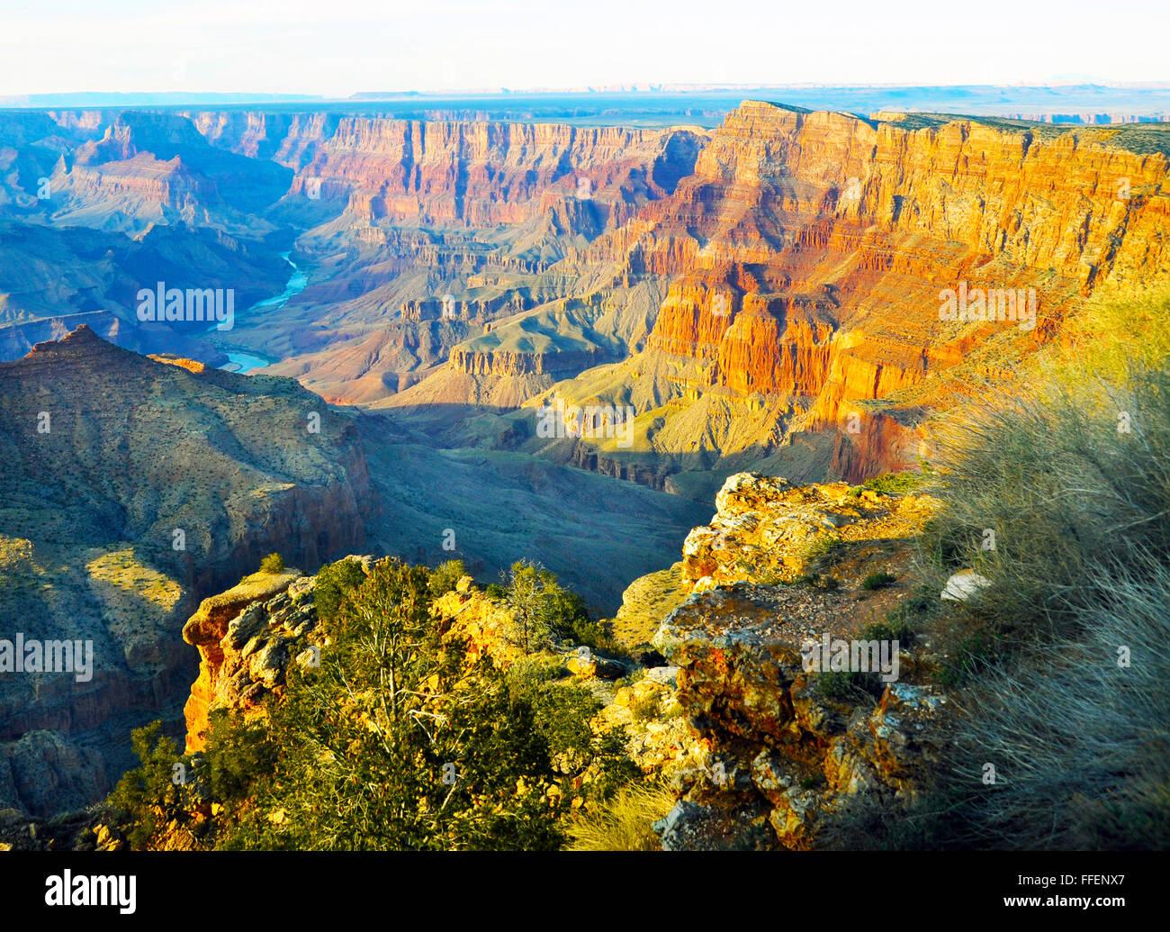 Grand Canyon,pendii ripidi canyon scavate dal fiume Colorado in Arizona. Abitata da nativi indiani americani, 277 Immagini Stock