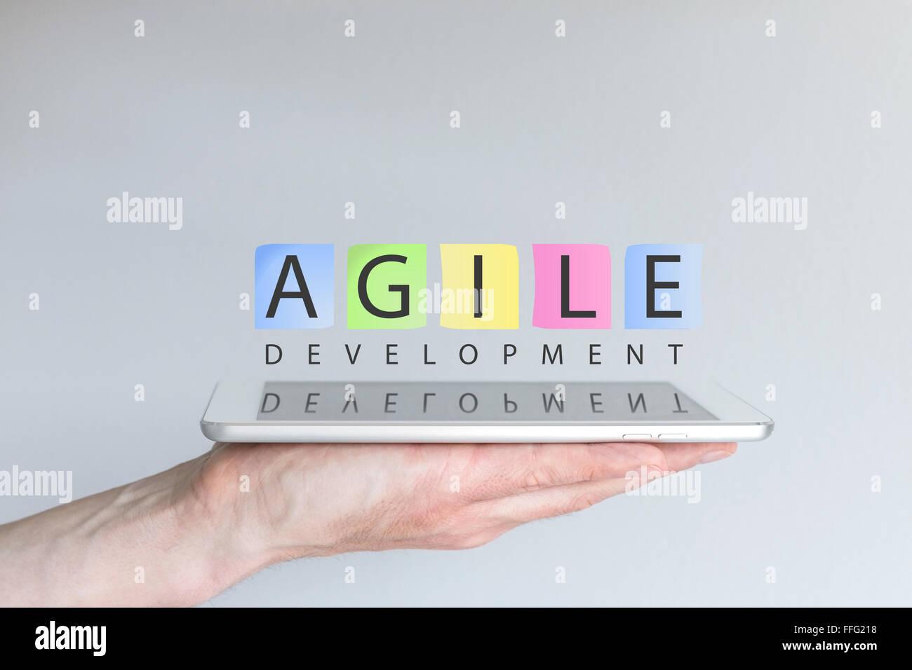 Agile il concetto di sviluppo per i dispositivi mobili Immagini Stock