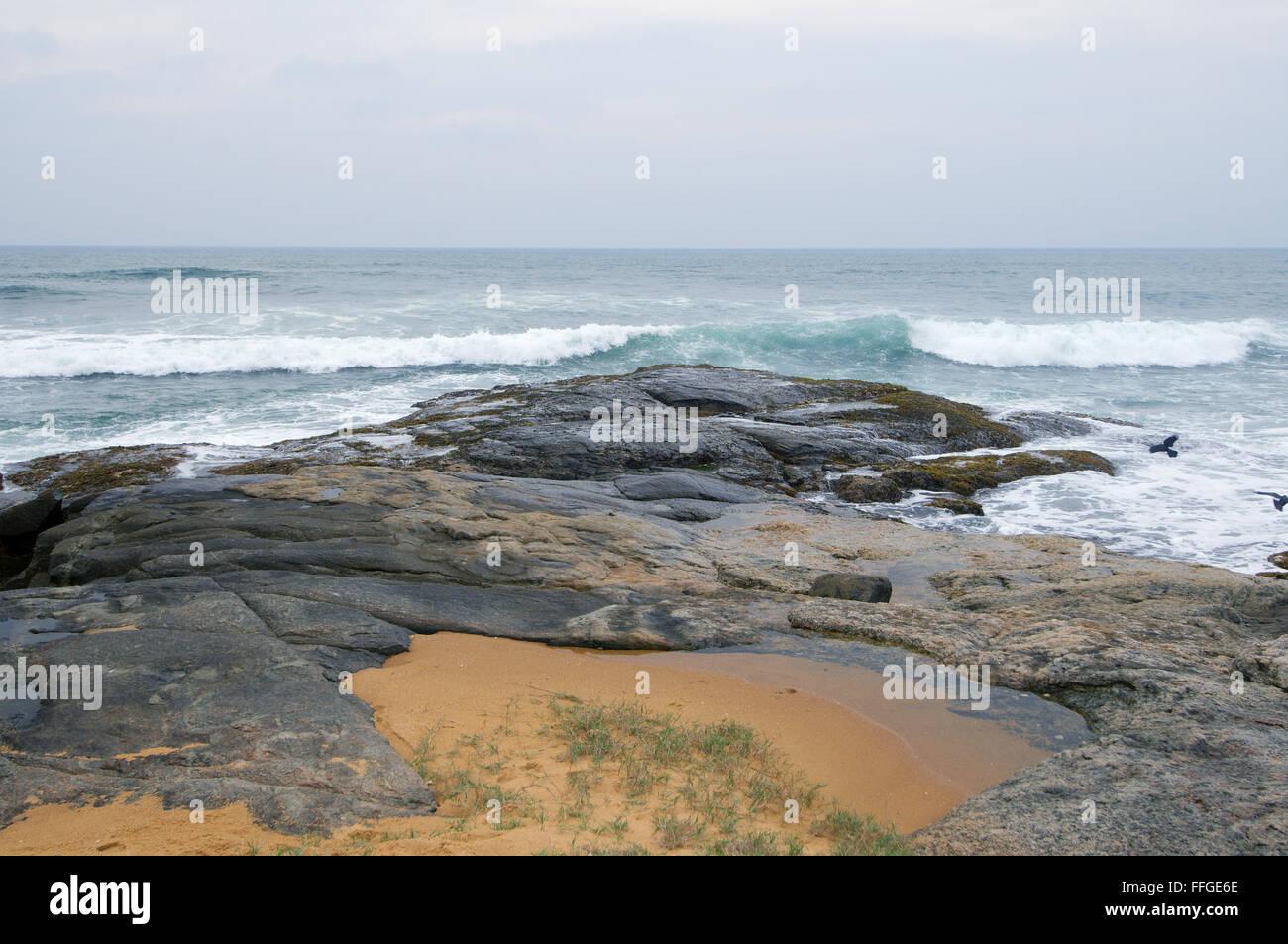 Sponde rocciose dell'Oceano Indiano, Hikkaduwa, Sri Lanka, Sud Asia Immagini Stock