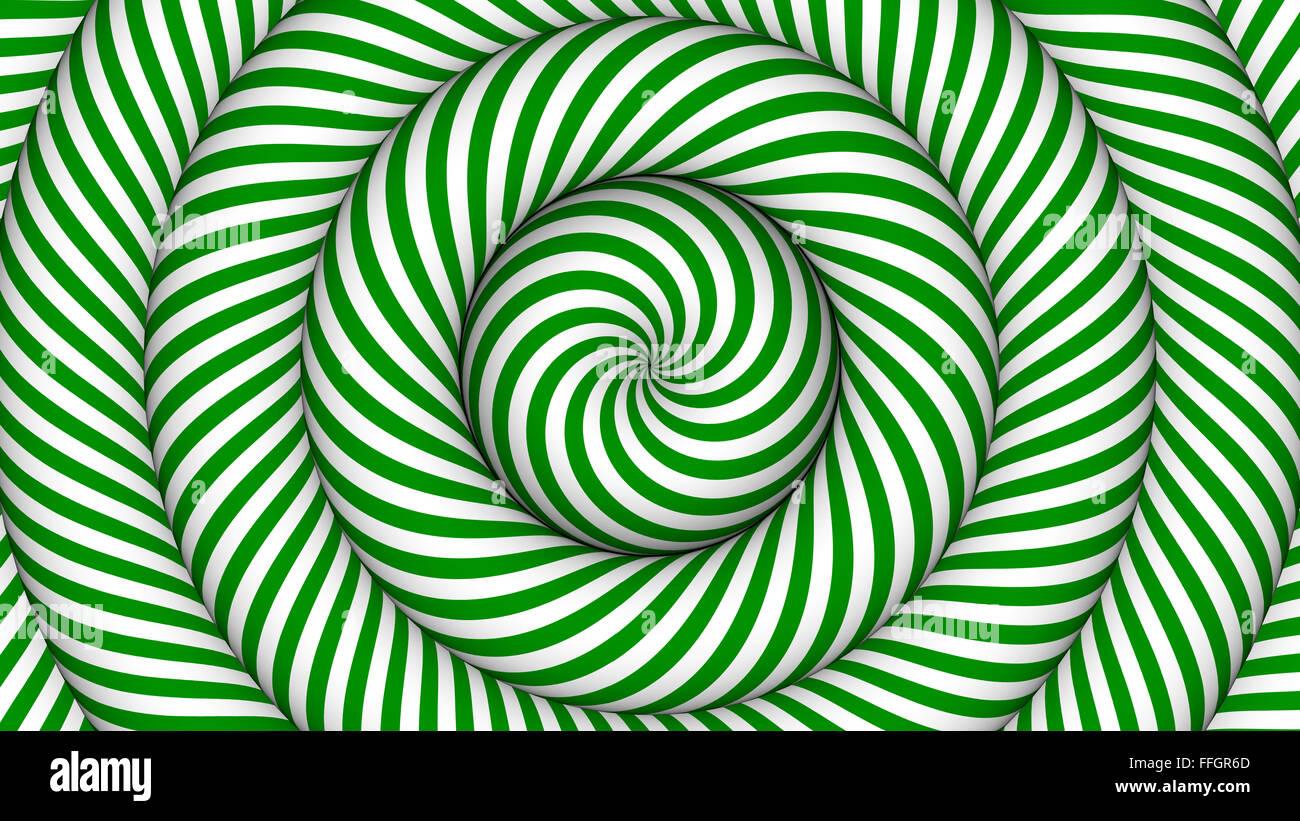 Ipnotico Con Sfondo Verde E Bianco Cerchi Concentrici In Movimento