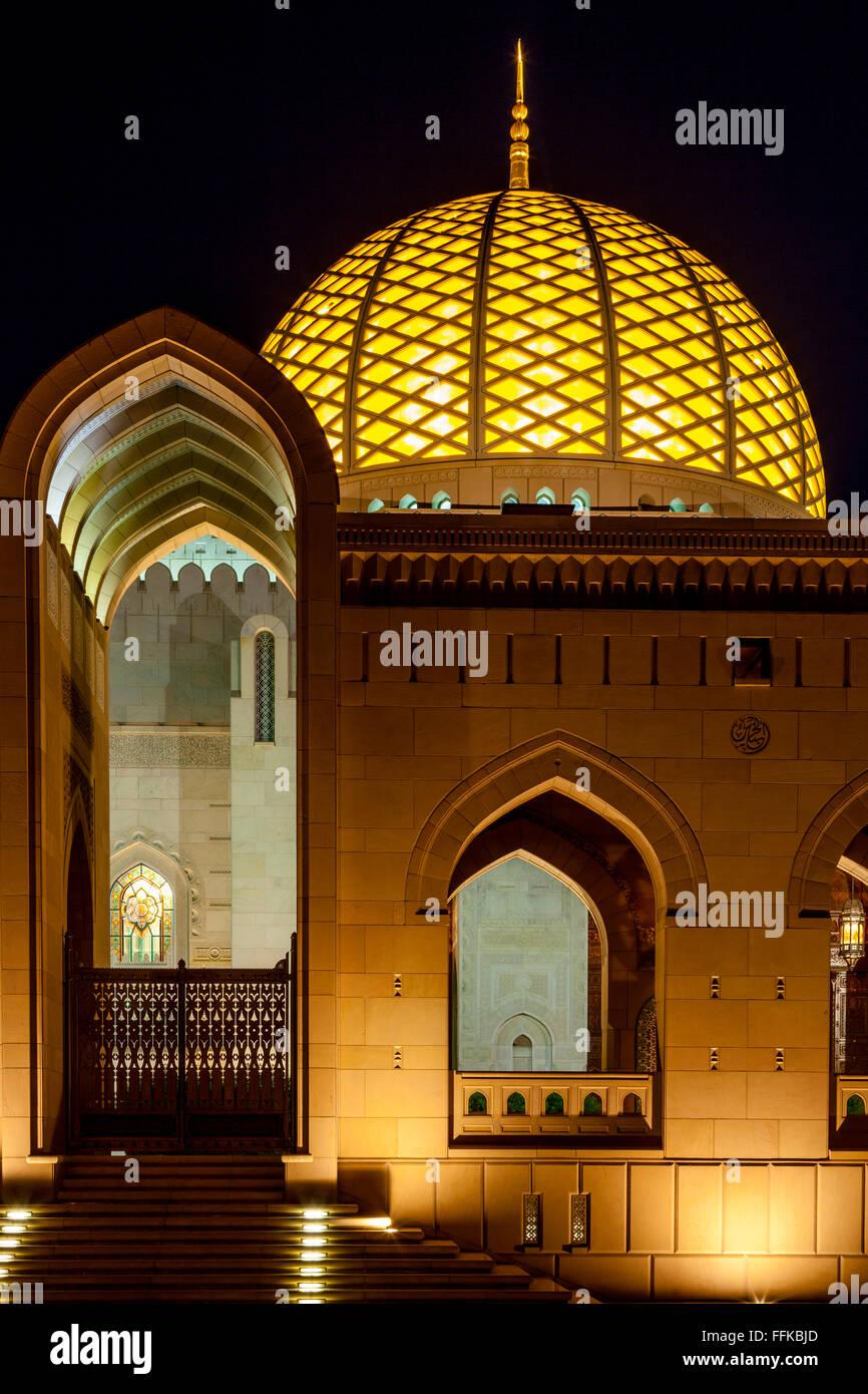 Sultan Qaboos Grande Moschea, Moscato, il sultanato di Oman Immagini Stock