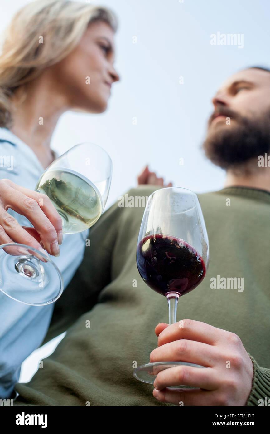 Coppia eterosessuale bere il vino in festa in giardino Immagini Stock