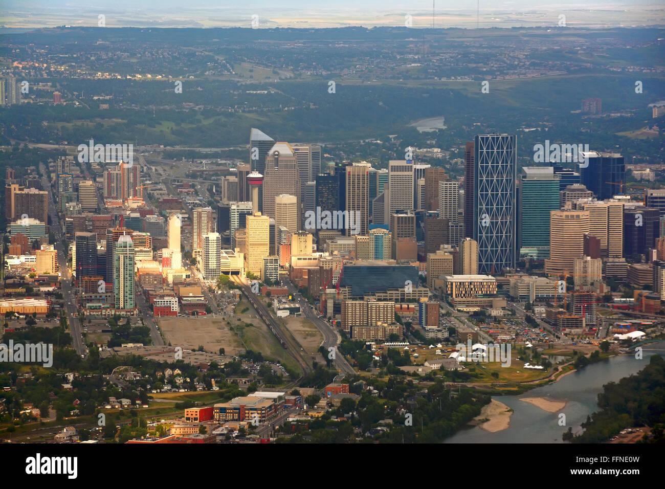Il centro di Calgary, vista aerea Immagini Stock