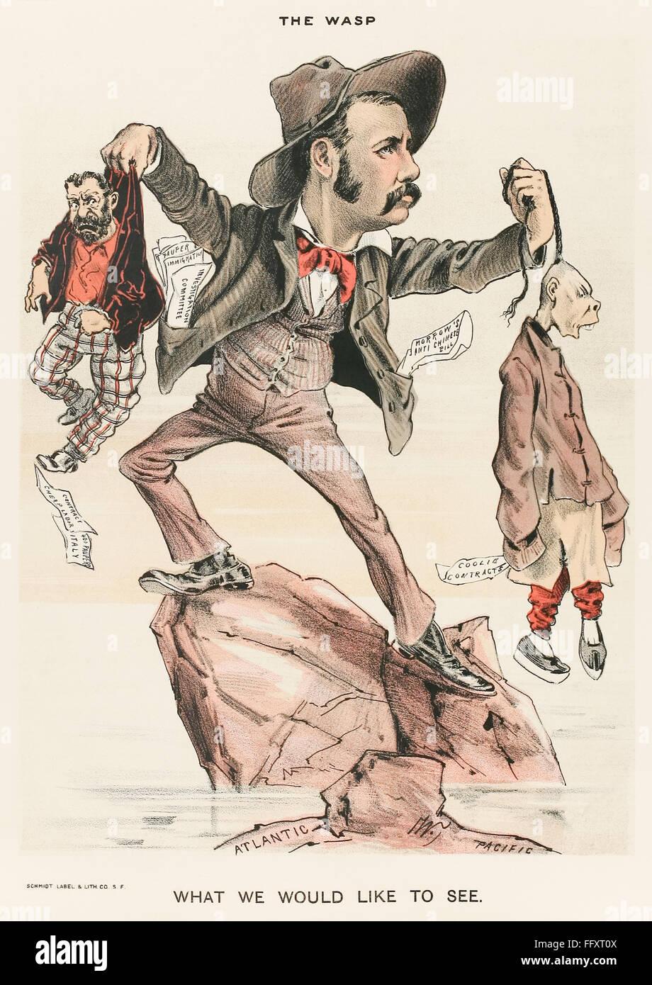 """"""" Ciò che vorremmo vedere."""" Il Wasp Cartoon 1888 Immagini Stock"""