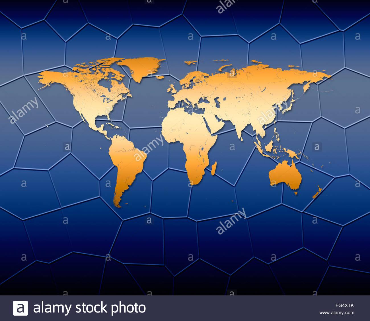 Mappa mondiale global globalizzazione cartografia mappe di tutto il mondo la geografia continente internazionale Immagini Stock