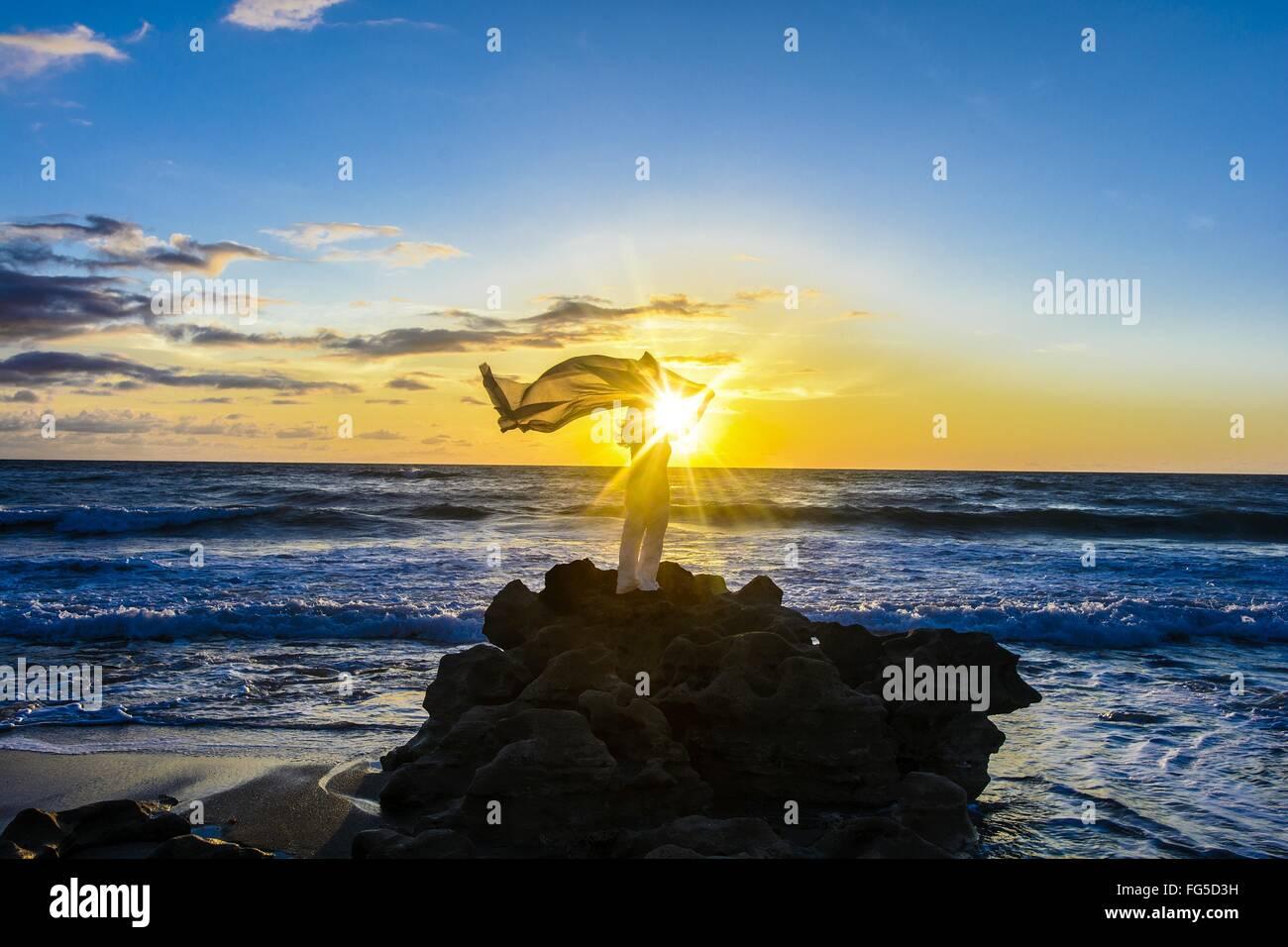 Donna con Sarong soffiando dal vento permanente sulla roccia in mare contro Sky Immagini Stock