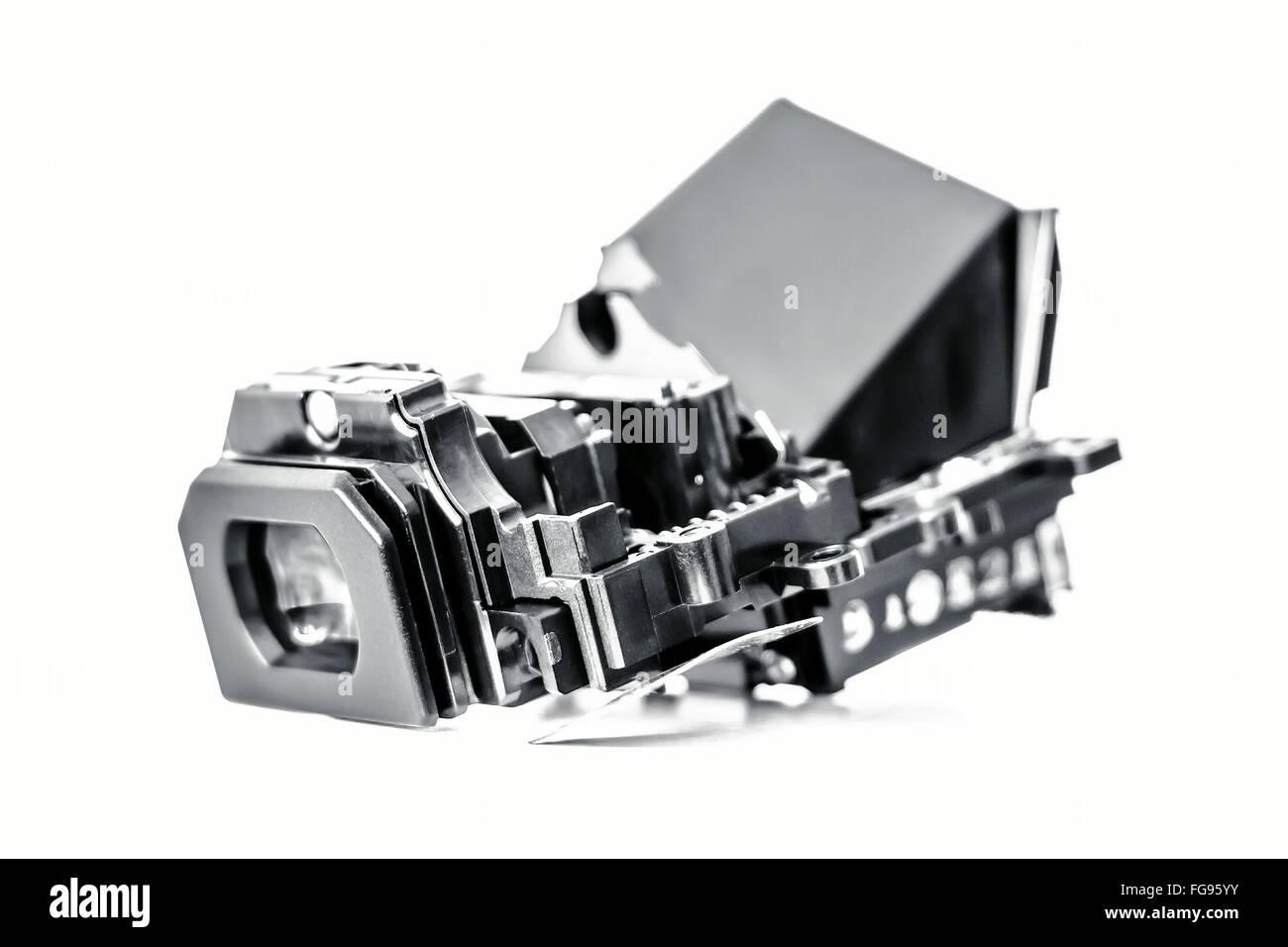Close-Up del mirino digitale su sfondo bianco Immagini Stock