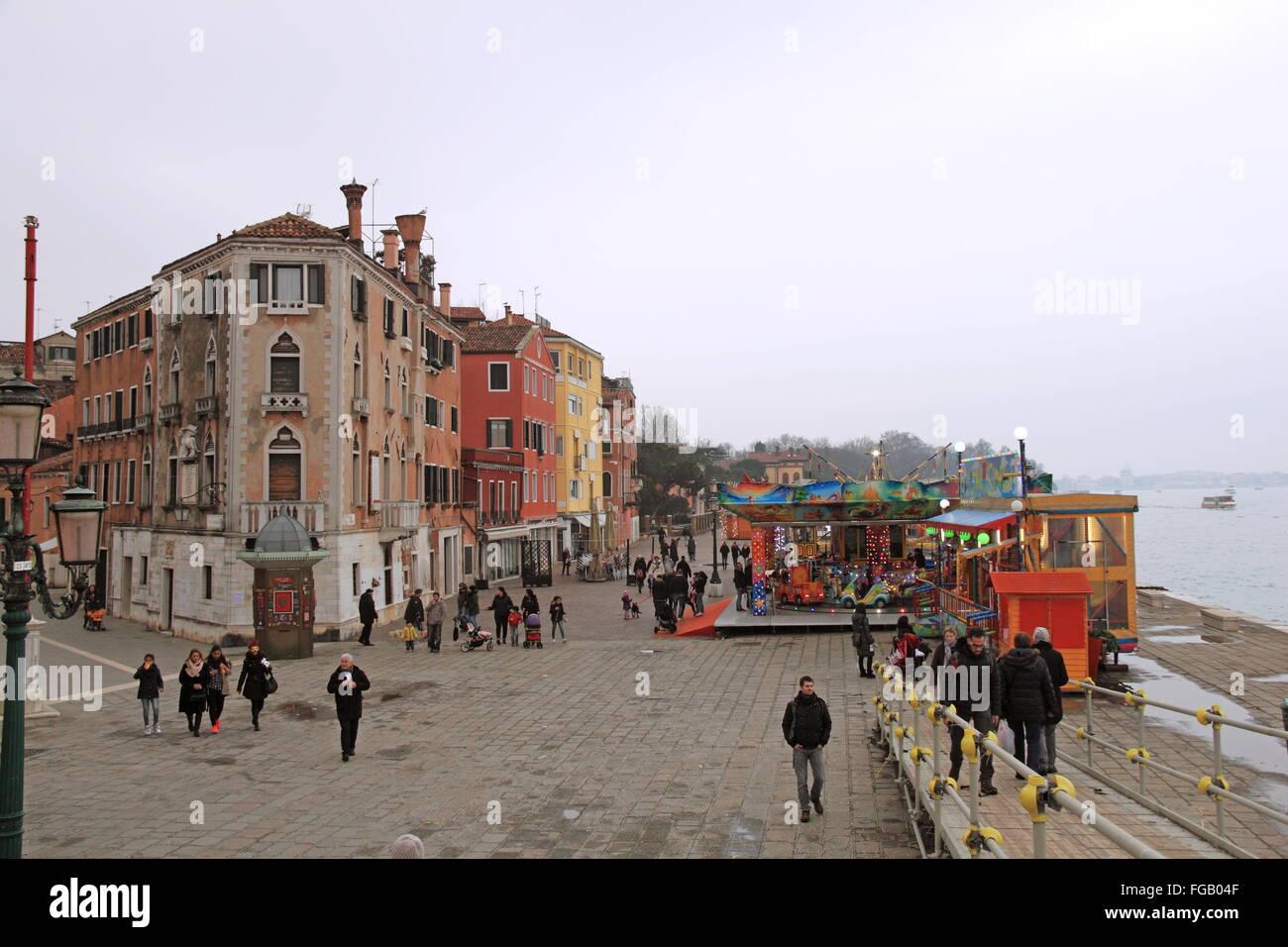 Riva dei Sette Martiri, Castello, Venezia, Veneto, Italia, Mare Adriatico, Europa Immagini Stock