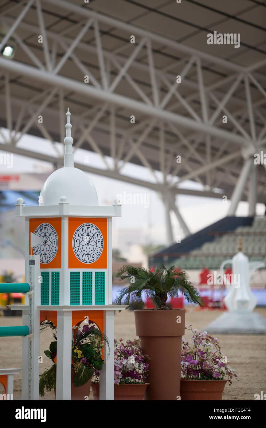Show Jumping, arena all'aperto, chi al Shaqab 2014 Immagini Stock