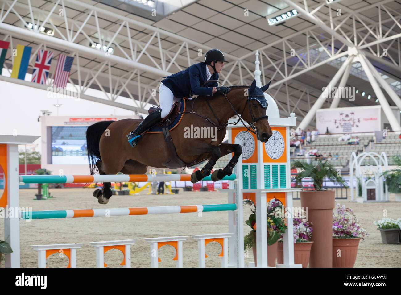 Rider competere in Show Jumping concorrenza a chi Al Shaqab 2014 Immagini Stock