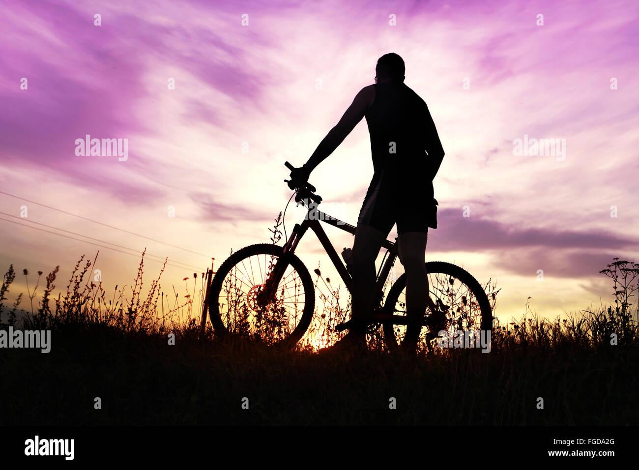 Traveler con la bici si è fermato sul campo al tramonto Immagini Stock
