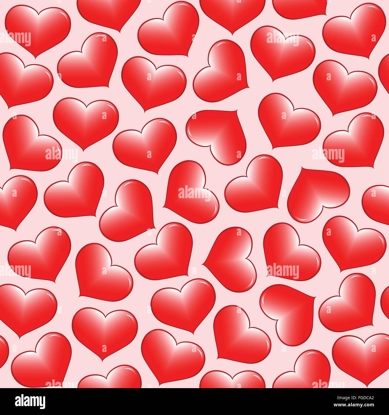 Seamless sfondo vettoriale di cuori rossi. Immagini Stock