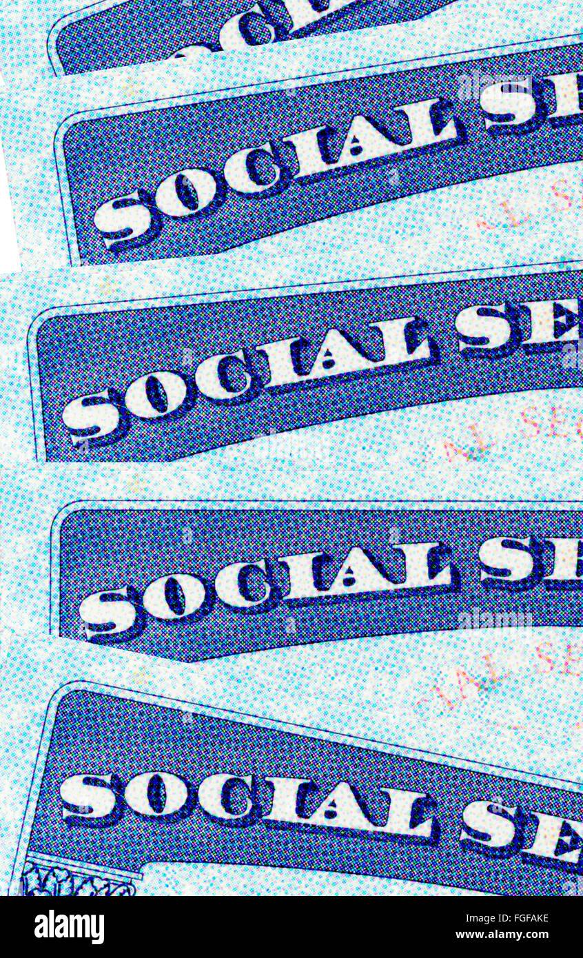 Vista dettagliata del Stati Uniti sociale le schede di sicurezza Immagini Stock