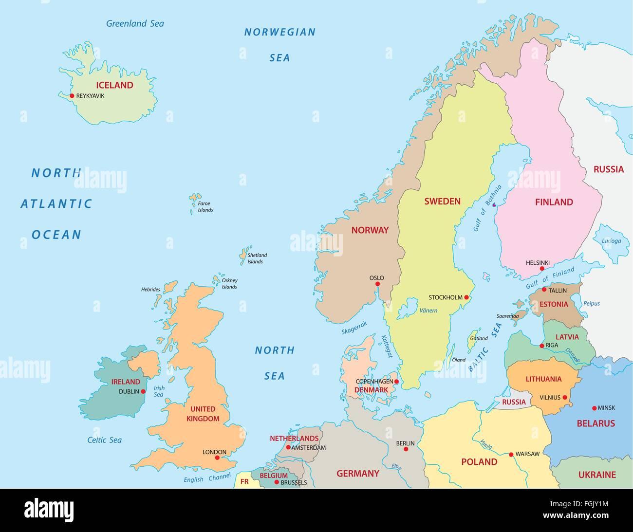 Cartina Geografica Nord Europa.Il Nord Europa Mappa Immagine E Vettoriale Alamy