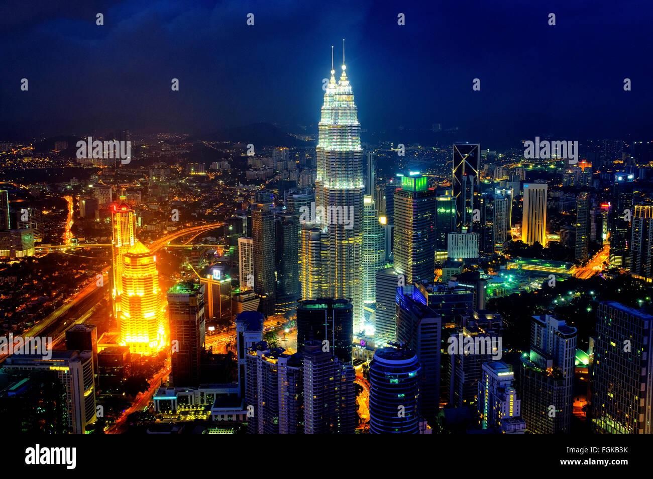 Skyline di Kuala Lumpur in Malesia Immagini Stock