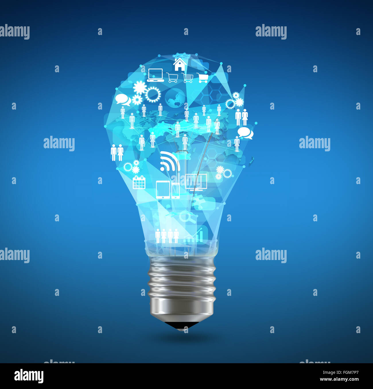 Le icone della lampada e la mappa del mondo nella parte superiore Immagini Stock