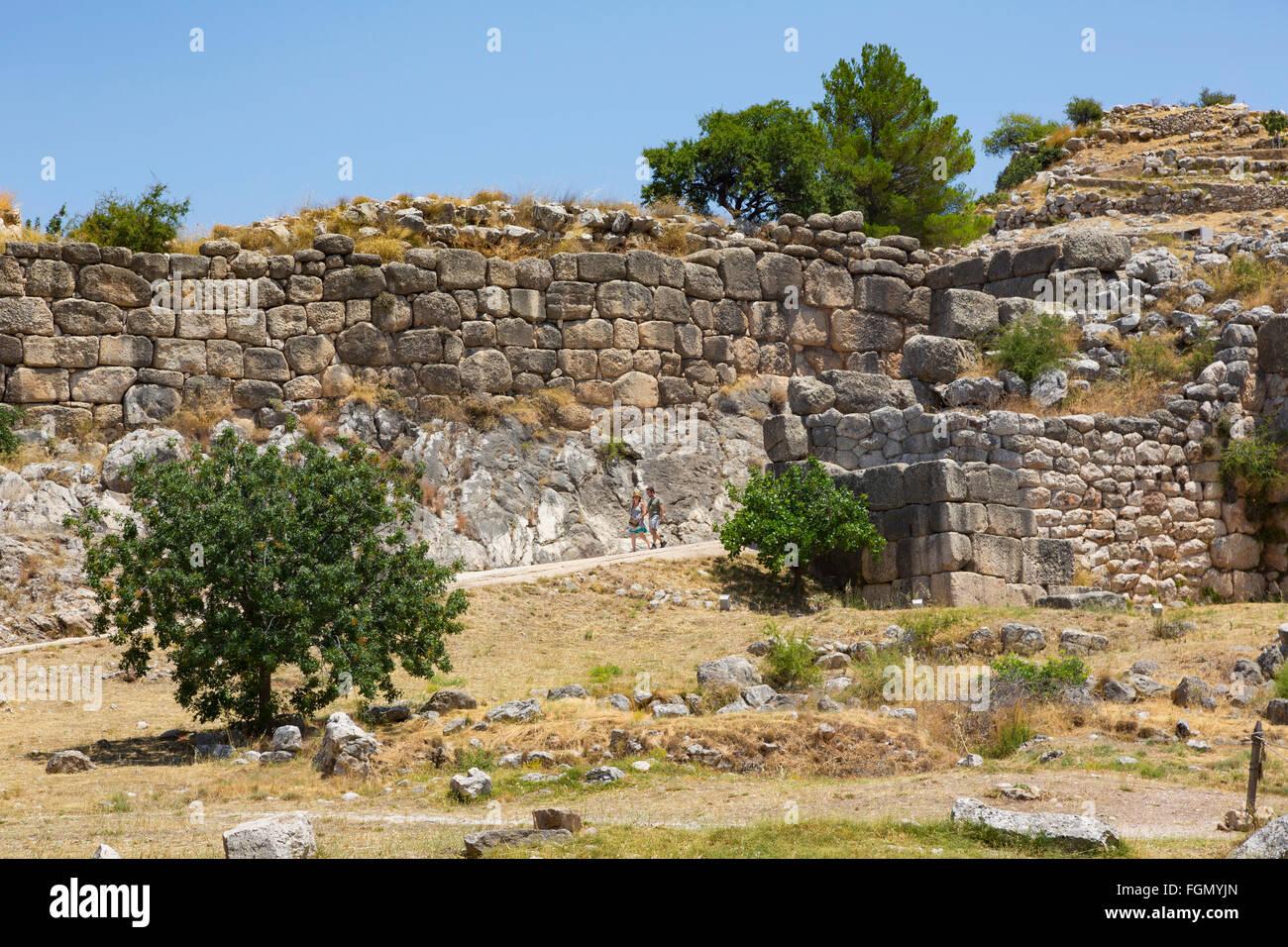 Micene, Argolide, Peloponneso e Grecia. Le mura ciclopiche della città cittadella. Immagini Stock