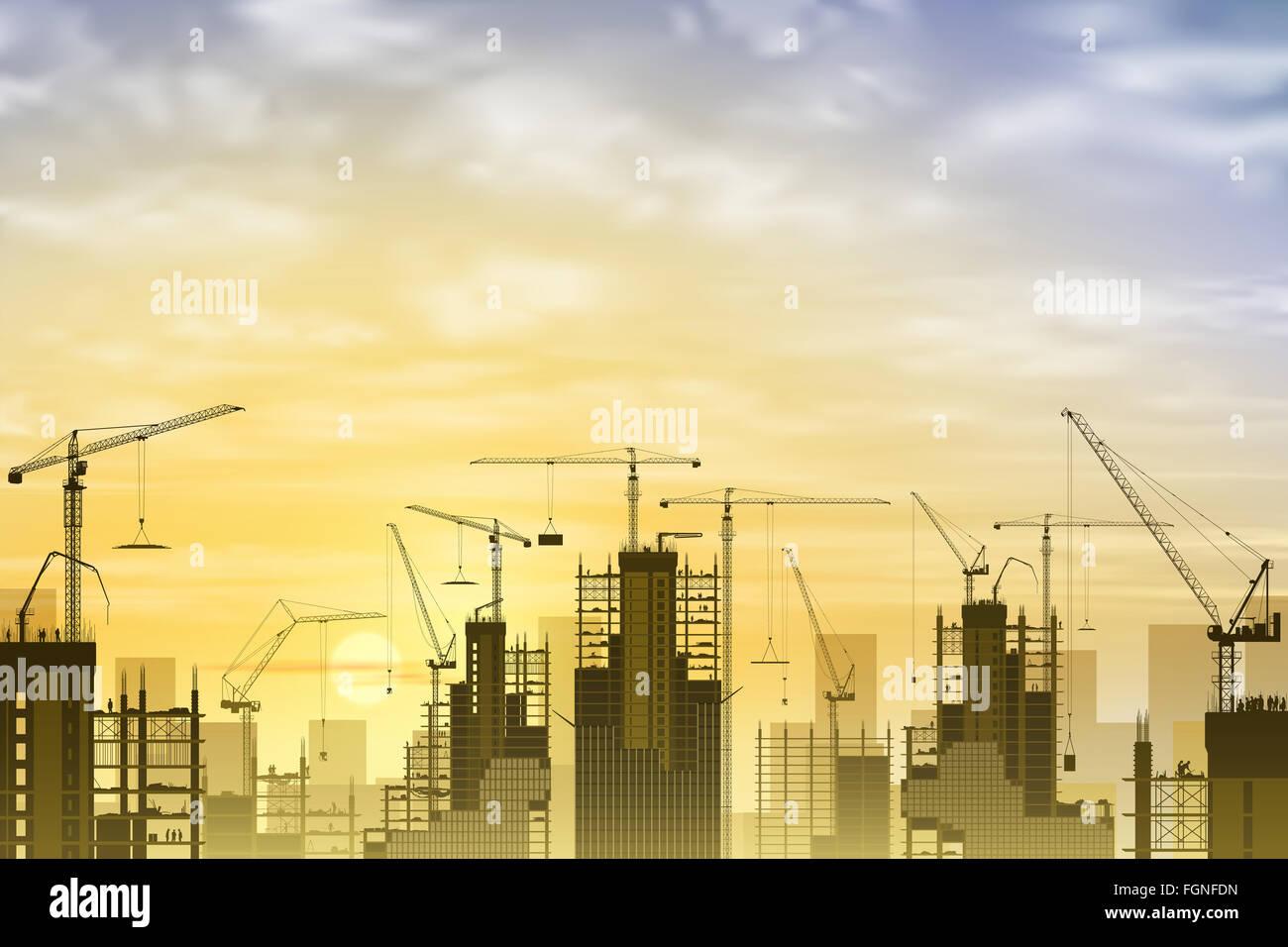 Costruzione di un sito con un sacco di gru a torre con il tramonto del sole, Sunrise. Immagini Stock