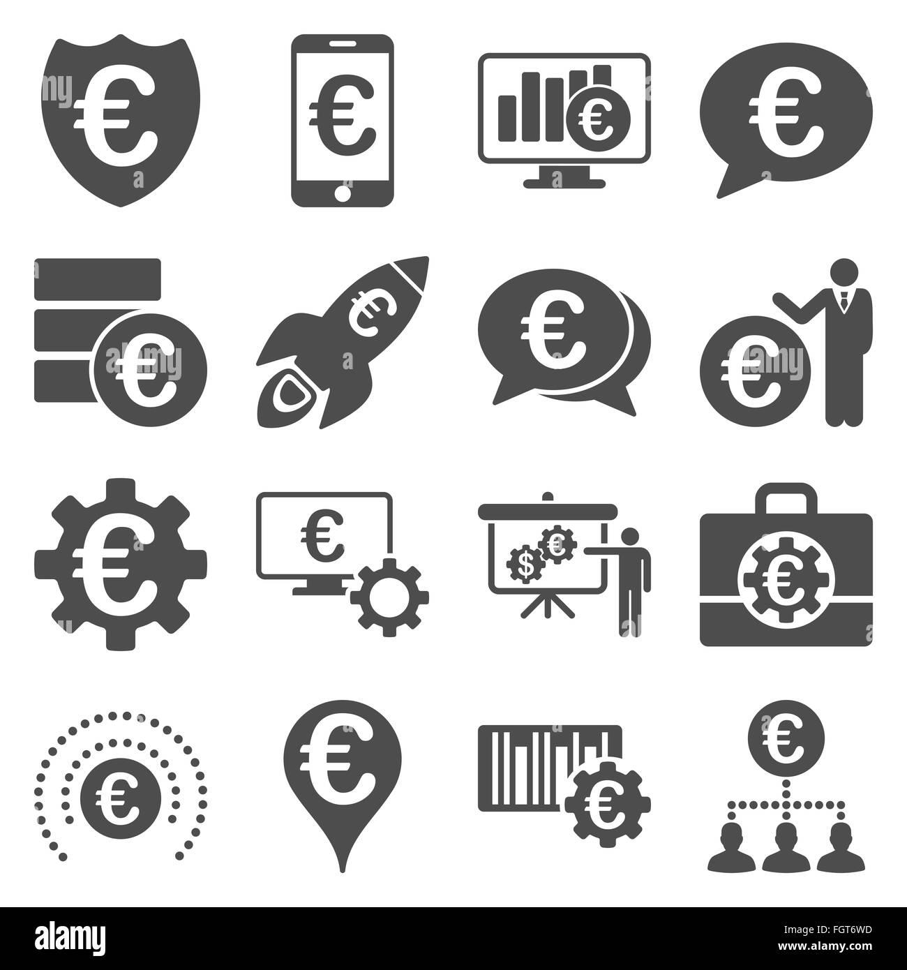 Euro banking aziendale e strumenti di servizio icone Immagini Stock